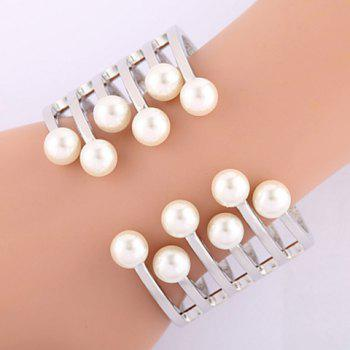 Exquisite Faux Pearl Hollow Out Women's Cuff Bracelet