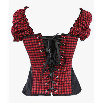 Stylish Checked Short Sleeve Square Self-Tie Zipper Fly Women's Corset - S S