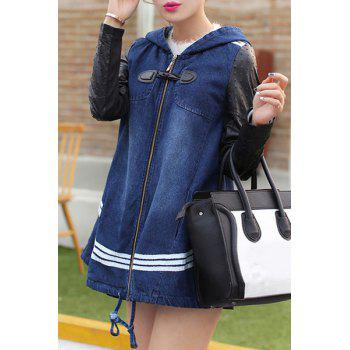 Casual Hooded Color Block Zippered Long Sleeve Women's Denim Coat - BLUE L