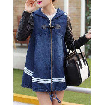 Casual Hooded Color Block Zippered Long Sleeve Denim Coat For Women