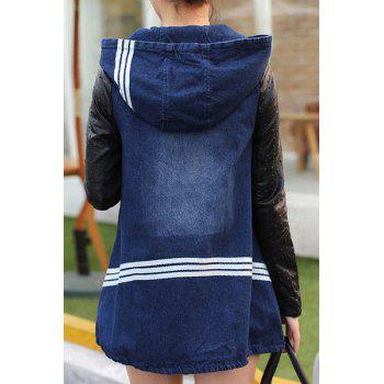 Casual Hooded Color Block Zippered Long Sleeve Women's Denim Coat - L L