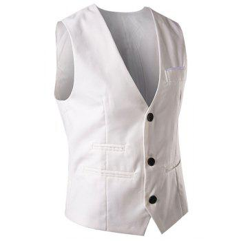Slimming V-Neck Fashion Solid Color Single Breasted Sleeveless Cotton Blend Men's Waistcoat - L L
