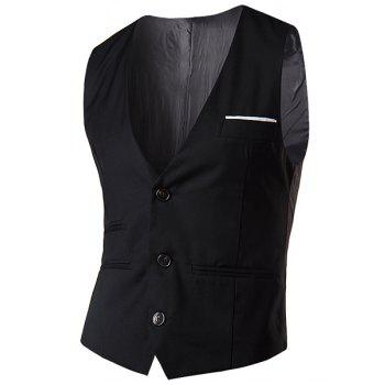 Slimming V-Neck Fashion Solid Color Single Breasted Sleeveless Cotton Blend Men's Waistcoat - M M