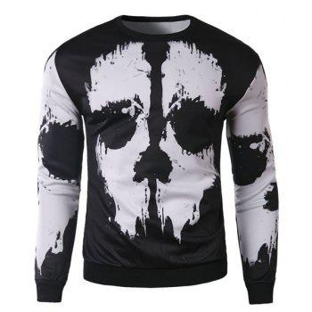 Slimming Round Neck Stylish 3D Abstract Print Long Sleeve Cotton Blend Men's Sweatshirt - WHITE AND BLACK L