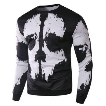 Slimming Round Neck Stylish 3D Abstract Print Long Sleeve Cotton Blend Men's Sweatshirt - WHITE/BLACK WHITE/BLACK