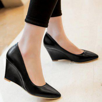 Simple Solid Color and PU Leather Design Wedge Shoes For Women - 38 38