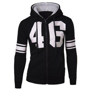 Slimming Stylish Number and Stripe Print Long Sleeve Cotton Blend Thicken Men's Hoodie - BLACK BLACK
