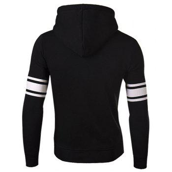 Slimming Stylish Number and Stripe Print Long Sleeve Cotton Blend Thicken Men's Hoodie - XL XL