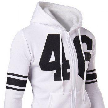 Slimming Stylish Number and Stripe Print Long Sleeve Cotton Blend Thicken Men's Hoodie - WHITE WHITE