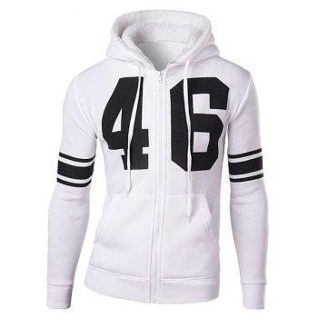 Slimming Stylish Number and Stripe Print Long Sleeve Cotton Blend Thicken Men's Hoodie