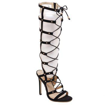 Stylish Hollow Out and Lace-Up Design Knee-High Boots For Women