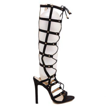 Stylish Hollow Out and Lace-Up Design Knee-High Boots For Women - BLACK 39