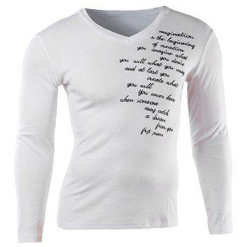 Slimming V-Neck Fashion Letter Embroidered Long Sleeve Cotton Blend Men's T-Shirt