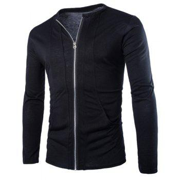 Laconic Round Neck Special Pocket Zipper Fly Solid Color Long Sleeves Men's Slim Fit Sweatshirt - BLACK M