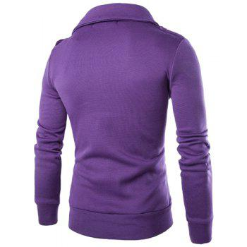 Double Inclined Zipper Epaulet Design Turn-down Collar Long Sleeves Men's Slimming Flocked Sweatshirt - 2XL 2XL