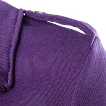 Double Inclined Zipper Epaulet Design Turn-down Collar Long Sleeves Men's Slimming Flocked Sweatshirt - PURPLE PURPLE