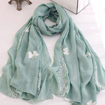 Chic Flowers and Butterflies Embroidery Women's Scarf