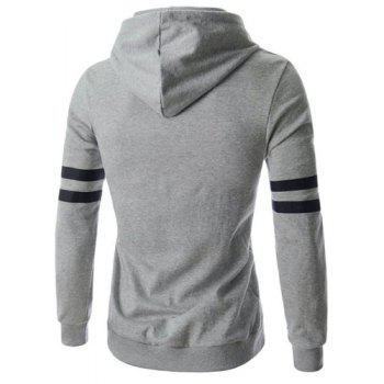 Preppy Style Hooded Letters Stripes Pattern Rib Spliced Slimming Long Sleeves Men's Flocked Hoodie - M M