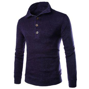 Stylish Slimming Long Sleeves Single-Breasted Solid Color Men's High Collar Knitting Sweater