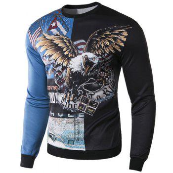 Slimming Round Neck Stylish 3D Eagle Pattern Long Sleeve Cotton Blend Men's Sweatshirt - M M