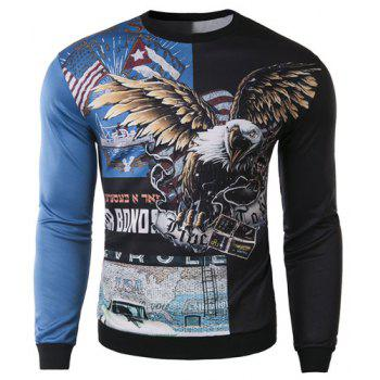 Slimming Round Neck Stylish 3D Eagle Pattern Long Sleeve Cotton Blend Men's Sweatshirt - BLUE AND BLACK M