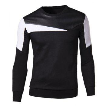Slimming Round Neck Fashion Color Block Fabric Splicing Long Sleeve Cotton Blend Men's Sweatshirt