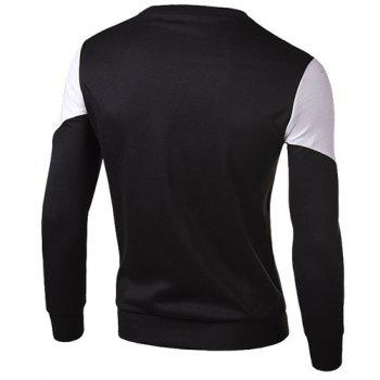 Slimming Round Neck Fashion Color Block Fabric Splicing Long Sleeve Cotton Blend Men's Sweatshirt - L L