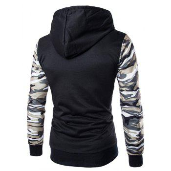 Classic Camo Spliced Rib Hem Color Block Slimming Hooded Long Sleeves Men's Fashion Hoodie - L L