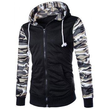 Classic Camo Spliced Rib Hem Color Block Slimming Hooded Long Sleeves Men's Fashion Hoodie - GRAY L