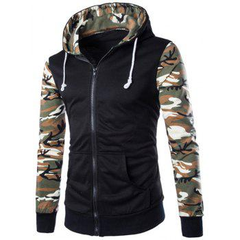 Classic Camo Spliced Rib Hem Color Block Slimming Hooded Long Sleeves Men's Fashion Hoodie - GREEN XL