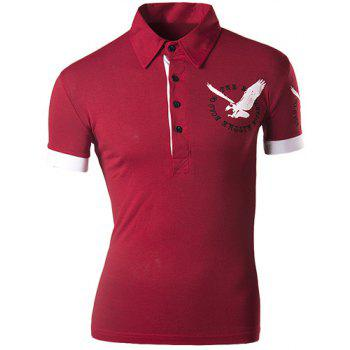 Slimming Turndown Collar Stylish 3D Eagle Pattern Short Sleeve Men's Polo T-Shirt