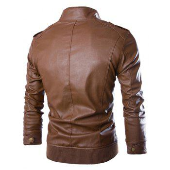 PU Leather Stand Collar Horizontal Zipper Epaulet Rib Spliced Long Sleeves Men's Slimming Jacket - COFFEE M