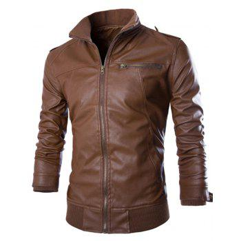 PU Leather Stand Collar Horizontal Zipper Epaulet Rib Spliced Long Sleeves Men's Slimming Jacket