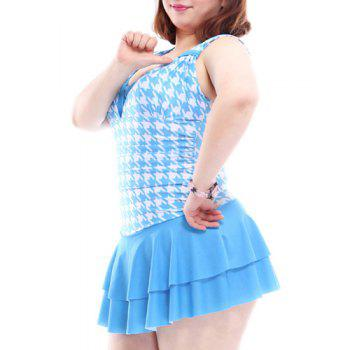 Simple Houndstooth Spliced V-Neck One-Piece Swimsuit For Women - BLUE 4XL