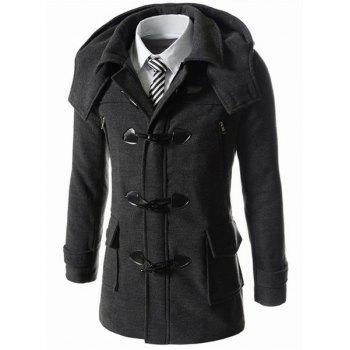 Long Style Hooded Horn Button Patch Pocket Zipper Design Slimming Full Sleeves Men's Woolen Blend Coat