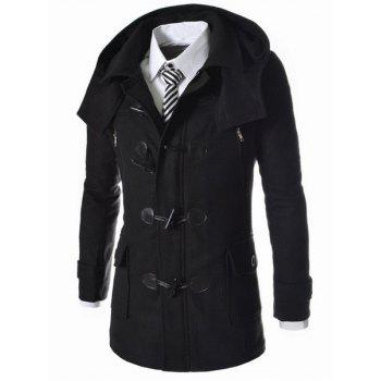 Style Long Corne capuche Bouton laine de Patch Pocket Zipper conception Minceur complets pour hommes manches Blend Coat