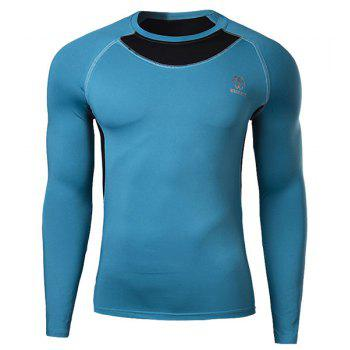 Skinny Round Neck Trendy Logo Print Two Color Splicing Long Sleeve Men's Quick-Dry T-Shirt