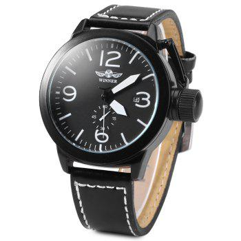 Buy Winner 8035 Men Automatic Mechanical Watch Date Display Working Sub-dial Leather Strap Large Crown BLACK