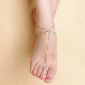 Fake Crystal Beads Layered Tassel Anklet