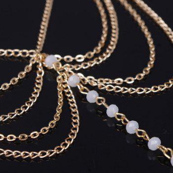 Fake Crystal Beads Layered Anklet -  WHITE