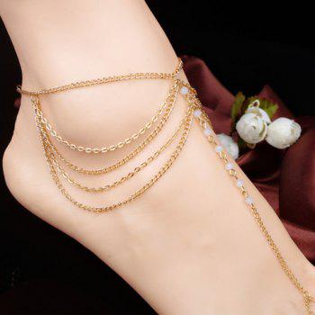 Fake Crystal Beads Layered Anklet - WHITE WHITE