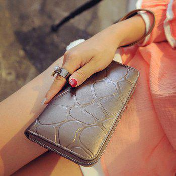 Fashion Solid Color and Zipper Design Wallet For Women -  GOLDEN