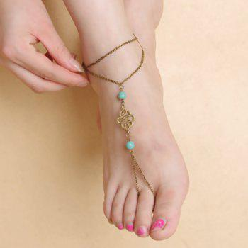 Faux Turquoise Beads Floral Layered Fancy Anklets
