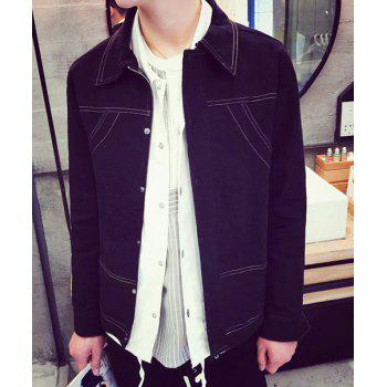 Modish Shirt Collar Sutures Design Solid Color Slimming Long Sleeve Denim Jacket For Men - BLACK BLACK