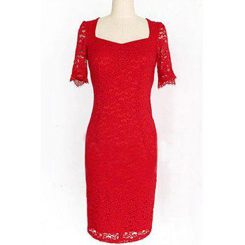 Elegant Red Sweetheart Neck Short Sleeve Midi Dress For Women - RED S