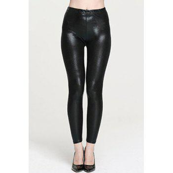 Stylish Elastic Waist Solid Color Slimming PU Women's Leggings