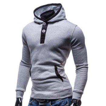 Slimming Hooded Modish Color Block Splicing Button Design Long Sleeve Cotton Blend Men's Hoodie - LIGHT GRAY XL