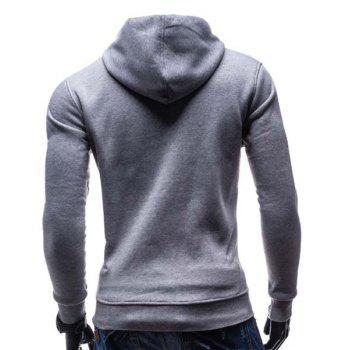 Slimming Hooded Fashion Color Block Buttons Design Long Sleeve Polyester Men's Hoodie - LIGHT GRAY M