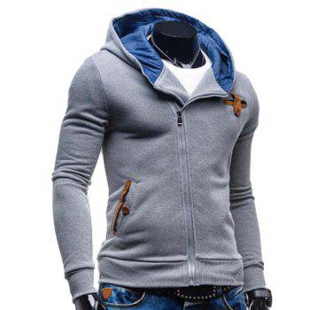 Slimming Hooded Fashion Patched Splicing Oblique Zipper Long Sleeve Polyester Men's Hoodie - LIGHT GRAY M