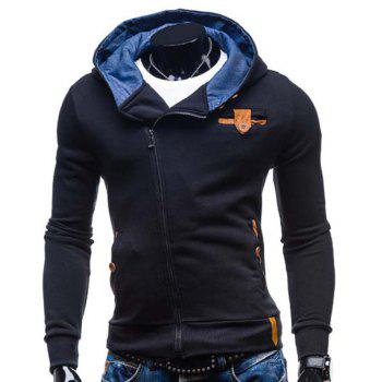 Buy Slimming Hooded Fashion Patched Splicing Oblique Zipper Long Sleeve Polyester Men's Hoodie BLACK